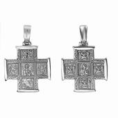 Крест православный квадратный со святыми, серебро
