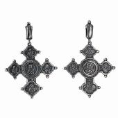Крест православный Спас, икона Божьей Матери, черненое серебро