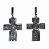 Крест православный с распятием и святыми, черненое серебро
