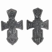 Крест православный с распятием и святыми (Ангел Хранитель, Николай Чудотворец, Троица), черненое серебро
