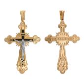 Крест православный с эмалью, красное и белое золото 35 мм