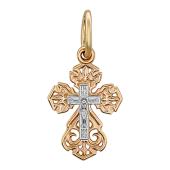 Крест православный резной, комбинированное золото 15 мм