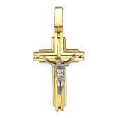 Крест православный прямые линии, желтое и белое золото