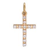 Крестик без распятия с фианитами, красное золото 21 мм