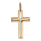 Крест без распятия, вставка фианит, красное золото 25 мм