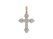 Крест с фианитами без распятия, красное золото 23 мм