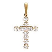 Крест без распятия, вставка 11 фианитов, красное золото 20 мм