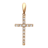 Крест без распятия с фианитами узкий (2 мм), красное золото 23 мм