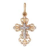 Крест православный с фианитами, красное золото ~15мм