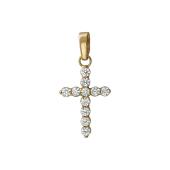 Крест с фианитами, красное золото