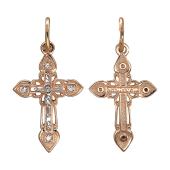 Крест православный остроконечный с фианитами, красное золото