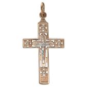 Крест православный прямой с фианитами, красное золото