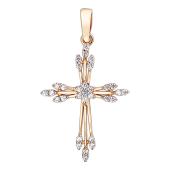 Крест вербный с фианитами, красное золото