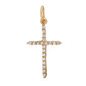 Крест с фианитами из красного золота