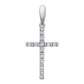 Крест с фианитами узкий, белое золото 23 мм