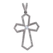 Крест двеннадцатиконечный с фианитами, белое золото
