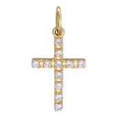 Крест прямой с фианитами, красное золото