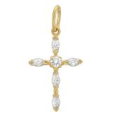 Крест с фианитами маркиз, желтое золото