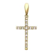 Крест прямой с фианитами из желтого золота 585 пробы