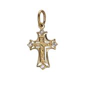 Крест православный с фианитами, желтое золото