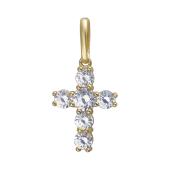 Крест с фианитами из желтого золота