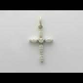 Крест с фианитами маркиз, серебро