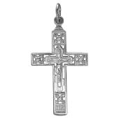 Крест православный прямоугольный с фианитами, серебро
