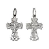 Крест православный расклешеный с фианитами, серебро