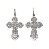 Крест православный с маковками и фианитами, серебро