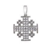 Крест Паломника с россыпью фианитов, серебро