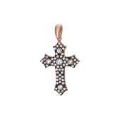 Крест с россыпью фианитов, серебро с позолотой и чернением