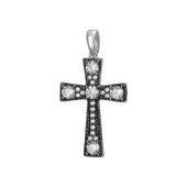 Крест без распятия с фианитами, серебро с чернением