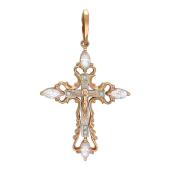 Крест православный ажурный с фианитами Маркиз и Круг, комбинированное золото ~ 2 см