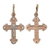 Крест православный с округлыми балками и фианитами, красное и белое золото