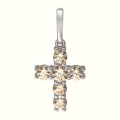 Подвеска Крест с фианитами  из белого золота 585 пробы