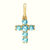 Крест декоративный с голубыми кристаллами Сваровски, желтое золото 585 проба