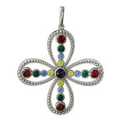 Крестик без распятия с наноизумрудом и цветными фианитами из серебра