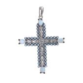 Крест с опаловыми фианитами, серебро