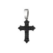 Крест с черными фианитами, серебро