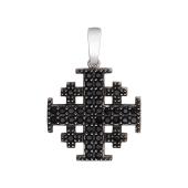 Крест паломника с черными фианитами, серебро