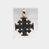 Крестик паломника без распятия с черными фианитами из серебра с позолотой