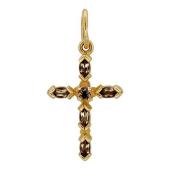 Крест с раухтопазами, красное золото