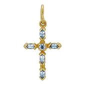 Крест с топазами, красное золото
