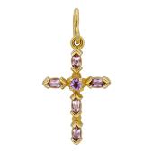 Крест без распятия с аметистами/топазами, красное золото 23 мм
