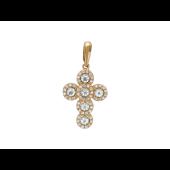 Крест без распятия с фианитами и полудрагоценными камнями, красное золото 19 мм