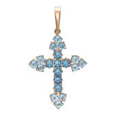 Крест без распятия с полудрагоценными камнями, красное золото 25 мм