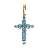 Крест без распятия с полудрагоценными камнями, красное золото 23 мм