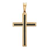 Крест без распятия с ониксом, красное золото 35.6 мм