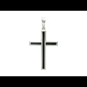 Крест без распятия с ониксом, белое золото 31 мм