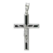 Крест православный прямой с ониксом, белое золото 585 проба